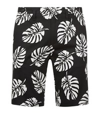 Dolce And Gabbana Leaf Print Shorts Male G69imtfsfdr1 Hn610 Foglie Fdo.Nero