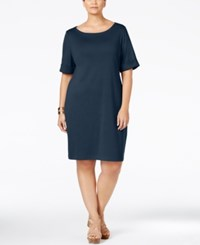 Karen Scott Plus Size Boat Neck T Shirt Dress Only At Macy's Intrepid Blue