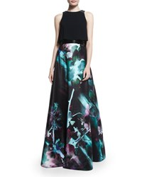 Monique Lhuillier Sleeveless Two Piece Full Skirt Gown Aurora Borealist