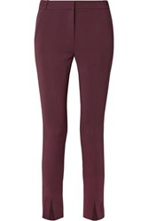 Tibi Beatle Stretch Crepe Straight Leg Pants Burgundy