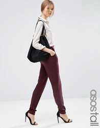Asos Tall Pintuck Peg Trouser Oxblood Red