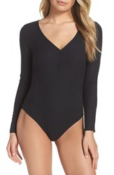 Felina 'S Body Zone Ribbed Henley Bodysuit Black