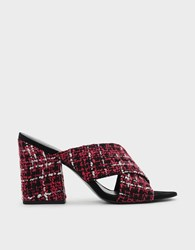 Charles And Keith Criss Cross Mules Red