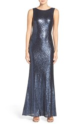 Lulus Women's Lulu's Sleeveless Sequin Drape Back Gown Matte Navy