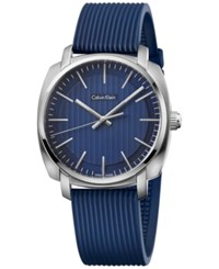 Calvin Klein Men's Swiss Highline Blue Rubber Strap Watch 40Mm K5m311zn