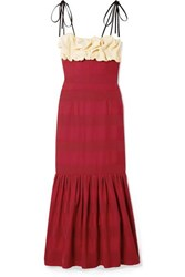 Hellessy Rosie Ruffled Paneled Satin Midi Dress Crimson