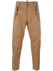 Dsquared2 Drop Crotch Carrot Trousers Brown