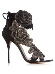 Sophia Webster Winona Floral Applique Suede Sandals Black Gold