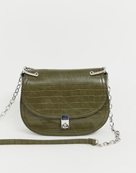 Stradivarius Moc Croc Cross Body With Chain In Green