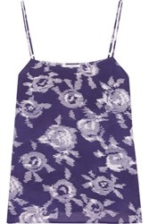 Equipment Cara Printed Washed Silk Camisole Navy