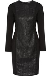 Raoul Cable Contoured Stretch Cotton Blend And Faux Leather Mini Dress