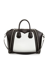 Antigona Medium Satchel Bag W Studs Black White Givenchy