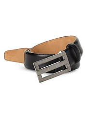 Saks Fifth Avenue Plaque Leather Belt Black