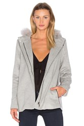 Suncoo Ezio Coat With Raccoon Fur Trim Gray