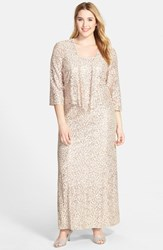 Plus Size Women's Alex Evenings Sequin Lace Gown And Jacket Champagne Ivory