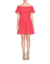 Cynthia Steffe Off The Shoulder Ruffle Dress Rose Red