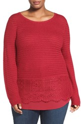 Lucky Brand Plus Size Women's Layer Look Lace Mix Sweater Rio Red