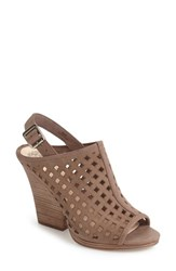 Vince Camuto Women's Janay Diamond Perforated Slingback Sandal Stone Taupe Nubuck Leather