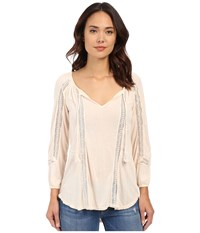 Lucky Brand Lace Mixed Peasant Top Pale Dogwood Women's Clothing Pink