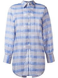 Au Jour Le Jour Lace Up Back Checked Shirt Blue
