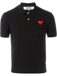 Comme Des Gara Ons Play Embroidered Heart Polo Shirt Black