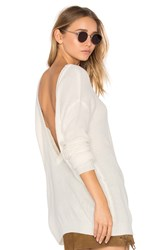 Bobi Cashmere V Back Sweater White