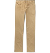 Canali Stretch Cotton Twill Trousers Beige
