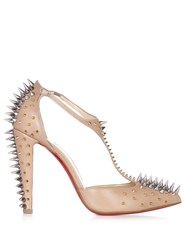 Christian Louboutin Goldostrap Spike Embellished Leather Pumps Nude