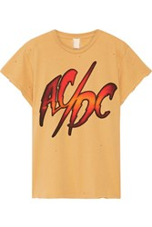 Madeworn Ac Dc Distressed Printed Cotton Jersey T Shirt Mustard