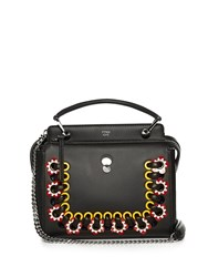 Fendi Dotcom Click Whipstitch Leather Cross Body Bag Black Multi