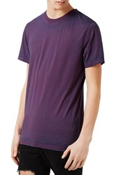 Topman Men's Burnout Longline T Shirt Purple Multi