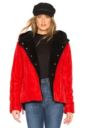 Sanctuary Fast Pass Reversible Jacket With Faux Fur Lining Red