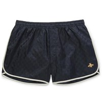 Gucci Short Length Embroidered Jacquard Shell Swim Shorts Navy