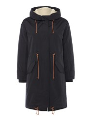 Sessun Parka With Hood And Zip Front Black