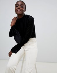 Pieces High Neck Ribbed Flare Sleeve Top Black