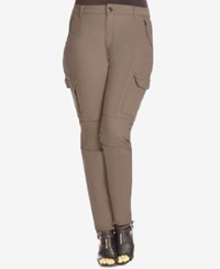 City Chic Plus Size Skinny Cargo Pants Mocha