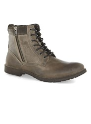 Topman Grey Leather Zip Boots