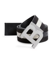 Bally Two Toned Logo Buckle Belt Black Beige