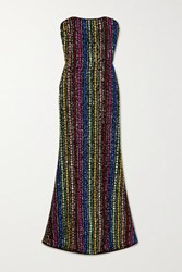 Mary Katrantzou Ava Strapless Sequined Tulle Gown Black
