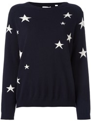 Chinti And Parker Slouchy Star Intarsia Sweater Blue