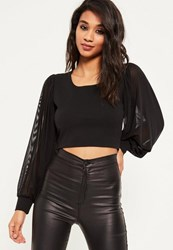 Missguided Black Long Sleeve Mesh Cropped Blouse