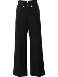 Hyke Contrast Button Palazzo Trousers Black