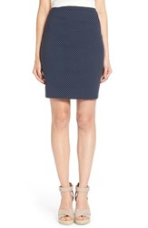 Women's Halogen Welt Pocket Pencil Skirt Navy Dot Pattern