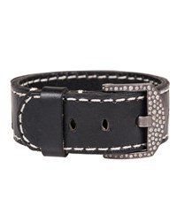 Todd Reed Leather Cuff Bracelet With Diamond Buckle