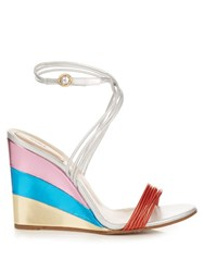 Chloe Metallic Rainbow Wedge Sandals Silver Multi