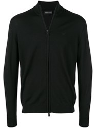 Emporio Armani Zip Up Cardigan Black