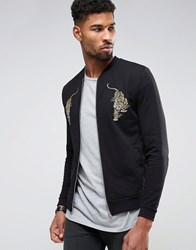 Asos Jersey Bomber Jacket With Tiger Embroidery Black