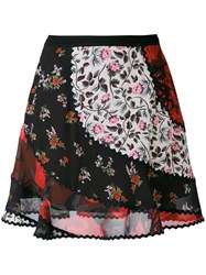 Coach Patchwork Floral Skirt Women Cotton Cupro Viscose 2 Black