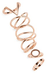 Topshop Women's 6 Pack Geo Rings Rose Gold