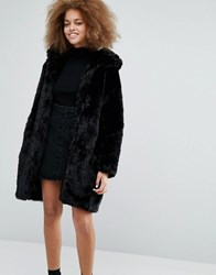 Monki Faux Fur Hooded Coat Black